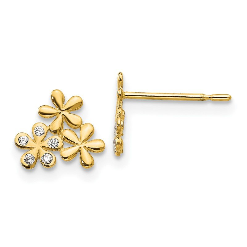Quality Gold 14k Madi K CZ Children's Flower Post Earrings