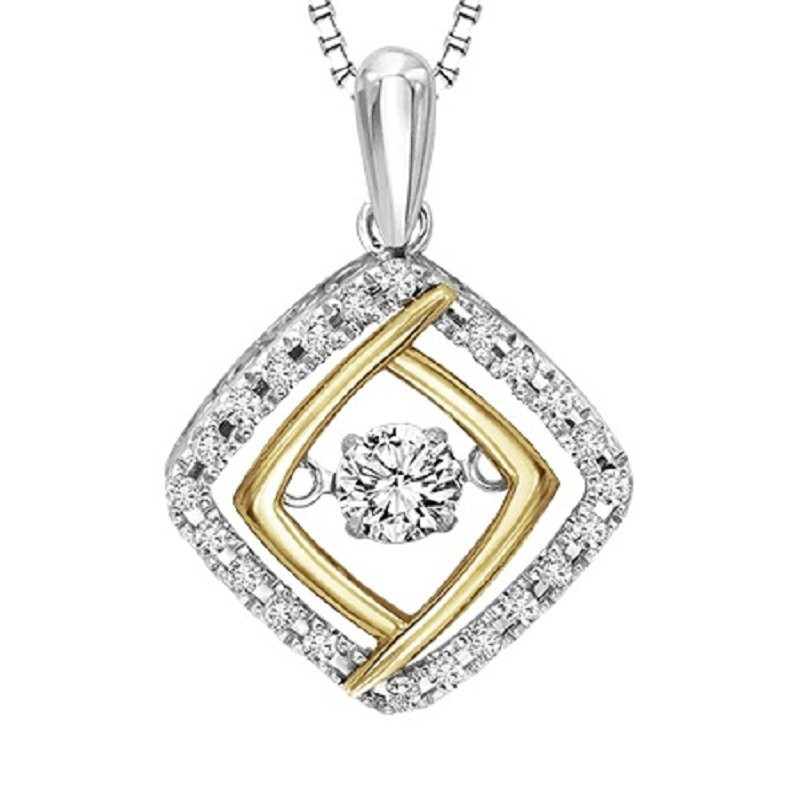 Necker's Signature Collection Silver & 10K Yellow & Diamond Rhythm Of Love Pendant 1/3 ctw