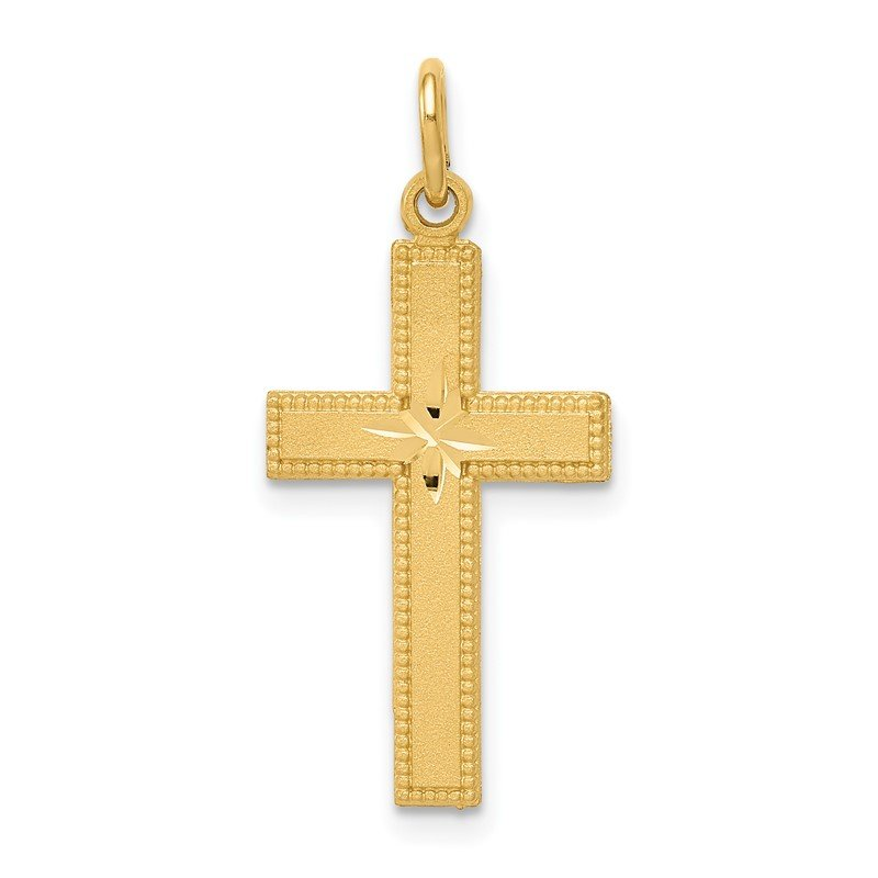 Quality Gold 14k Diamond-cut Cross Pendant