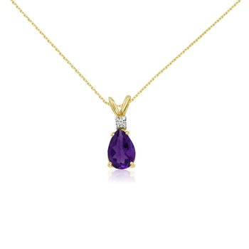 14k Yellow Gold 7X5 Amethyst Pear and Diamond Pendant