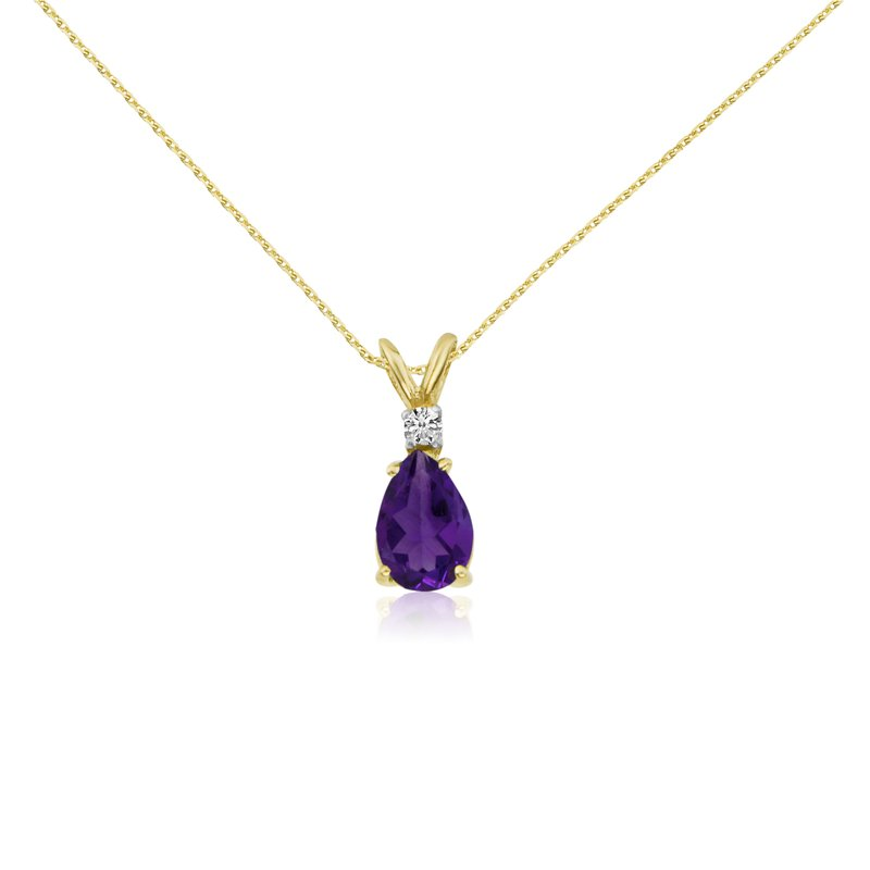 Color Merchants 14k Yellow Gold 7X5 Amethyst Pear and Diamond Pendant