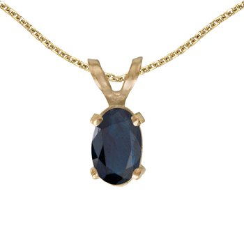 14k Yellow Gold Oval Sapphire Pendant