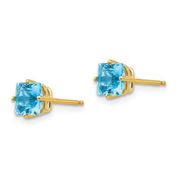 14k 5mm Princess Cut Blue Topaz Earrings