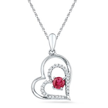 10kt White Gold Womens Round Lab-Created Ruby Heart Love Pendant 1/2 Cttw