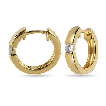 14K YG Diamond Hoops Earring 0.15 cts.