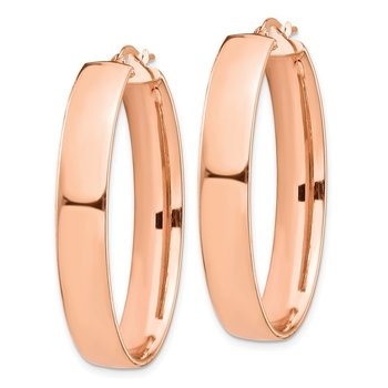 14k Rose Gold High Polished 7mm Oval Hoop Earrings