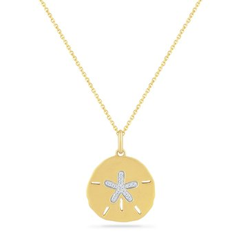 14K SAND DOLLAR PENDANT WITH 16 DIAMONDS 0.085CT ON A 18 INCH CHAIN, 25MM BY 18.5MM