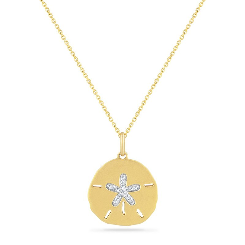 Shula NY 14K SAND DOLLAR PENDANT WITH 16 DIAMONDS 0.085CT ON A 18 INCH CHAIN, 25MM BY 18.5MM