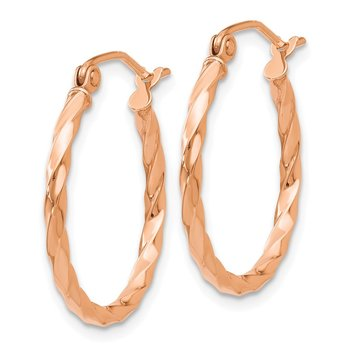 14k Rose Gold Twisted Hoop Earrings