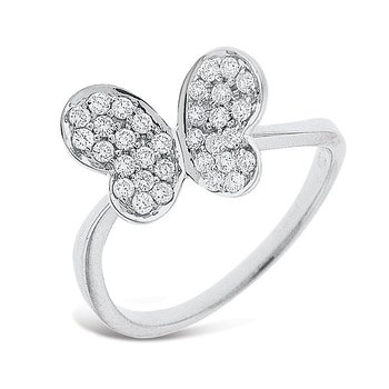 Diamond Butterfly Ring in 14k White Gold with 32 Diamonds weighing .32ct tw.