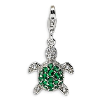 Sterling Silver Green & Clear CZ Turtle w/Lobster Clasp Charm