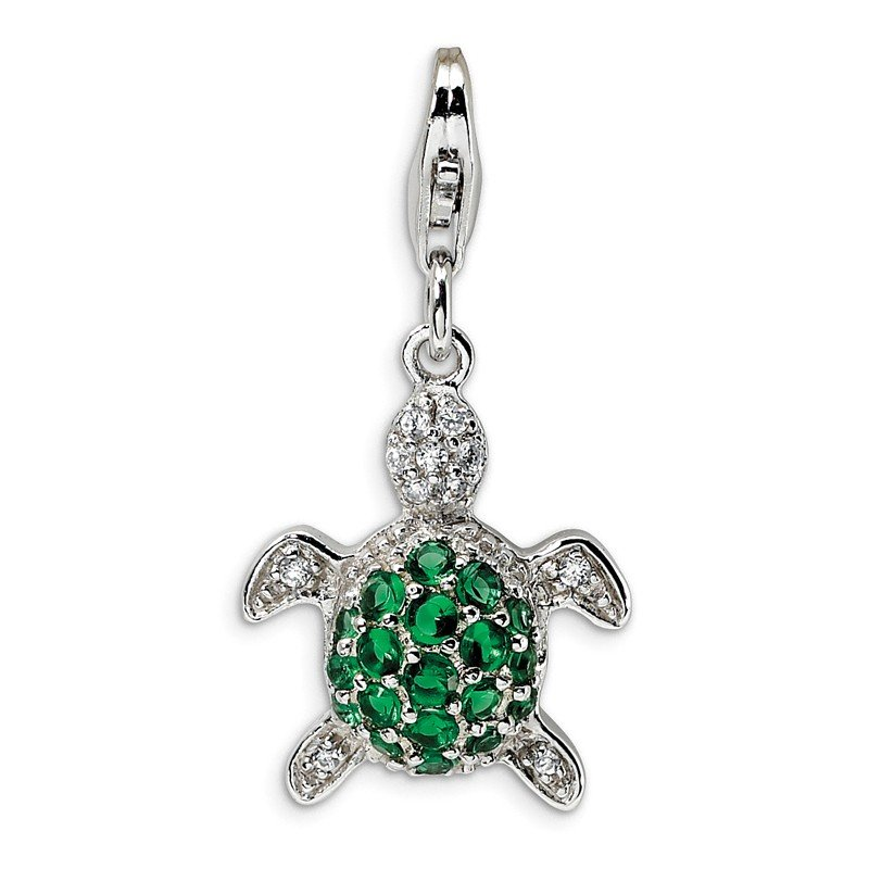 Quality Gold Sterling Silver Green & Clear CZ Turtle w/Lobster Clasp Charm