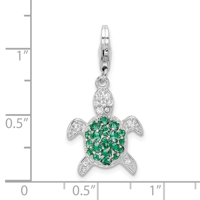 Quality Gold Sterling Silver Amore La Vita Rhodium-pl Green and Clear CZ Turtle Charm