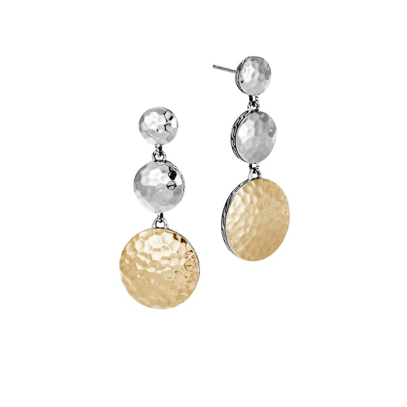JOHN HARDY Dot Triple Drop Earring in Hammered Silver and 18K Gold