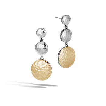 Dot Triple Drop Earring in Hammered Silver and 18K Gold
