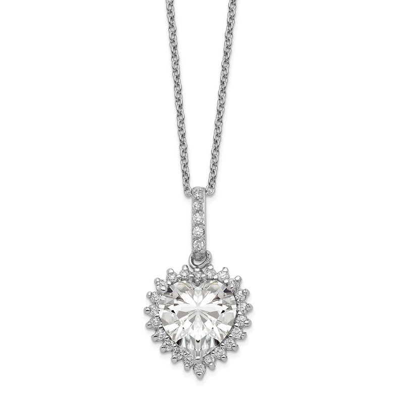Cheryl M Cheryl M SS Rhodium Plated CZ w/ 100 Facet Heart Center 18.5in Necklace