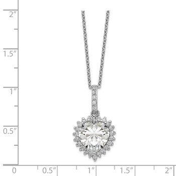 Cheryl M SS Rhodium Plated CZ w/ 100 Facet Heart Center 18.5in Necklace