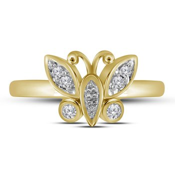 10kt Yellow Gold Womens Round Diamond Butterfly Bug Fashion Ring 1/10 Cttw