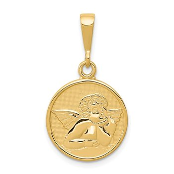 14K Polished and Satin Raphael Angel Pendant