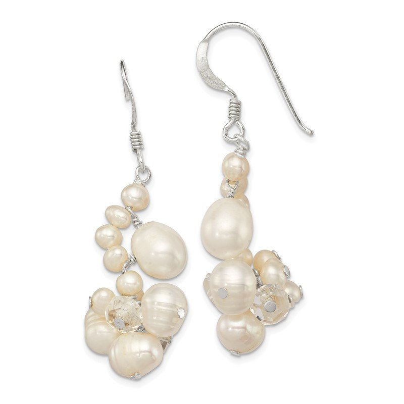 Quality Gold Sterling Silver Clear Crystal and FW Cultured Pearl Earrings