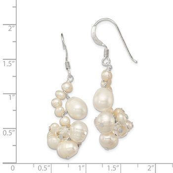 Sterling Silver Clear Crystal and FW Cultured Pearl Earrings