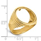 Quality Gold 14ky Polished Men's Ribbed Edge 16.5mm Coin Bezel Ring