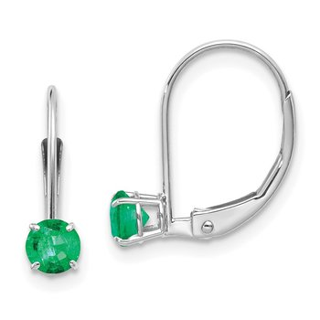 14k White Gold 4mm Round May/Emerald Leverback Earrings