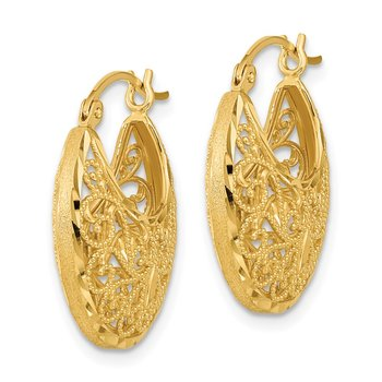 14k Diamond-cut Polished and Satin Filigree Hoop Earrings