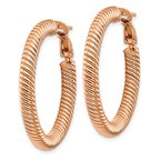 Quality Gold 14k 4x25mm Rose Gold Twisted Round Omega Back Hoop Earrings