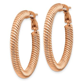 14k 4x25mm Rose Gold Twisted Round Omega Back Hoop Earrings