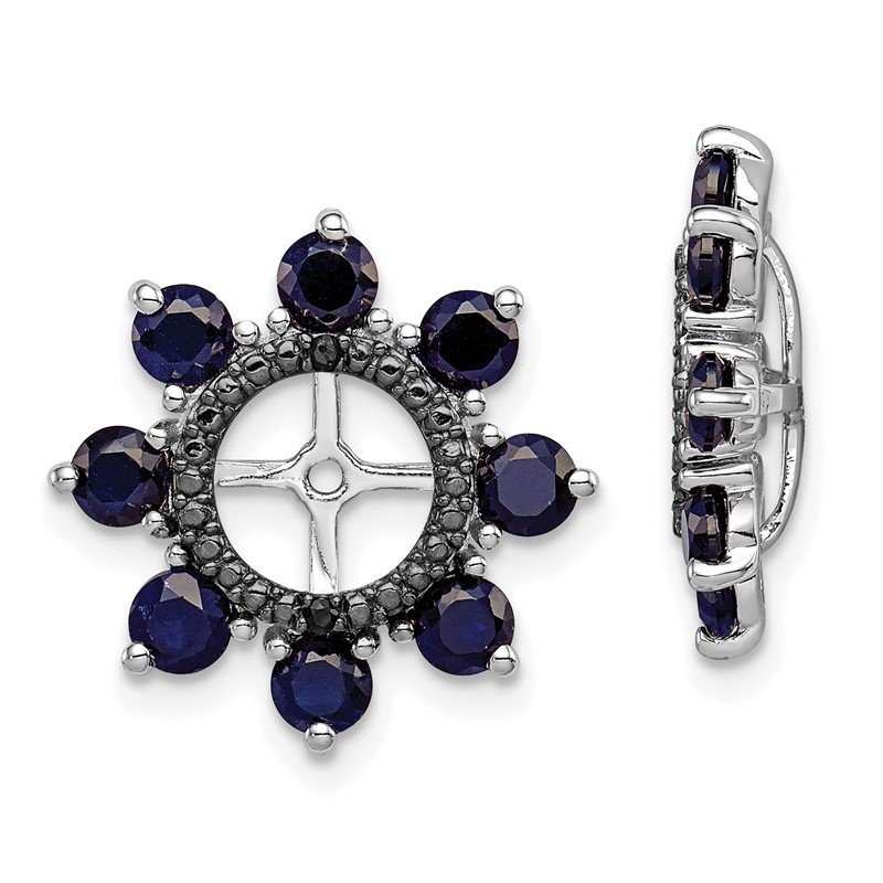 Quality Gold Sterling Silver Rhodium Created Sapphire & Black Sapphire Earring Jacket