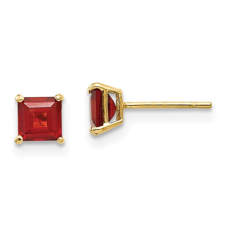 Quality Gold 14k Madi K Garnet 4mm Square Post Earrings
