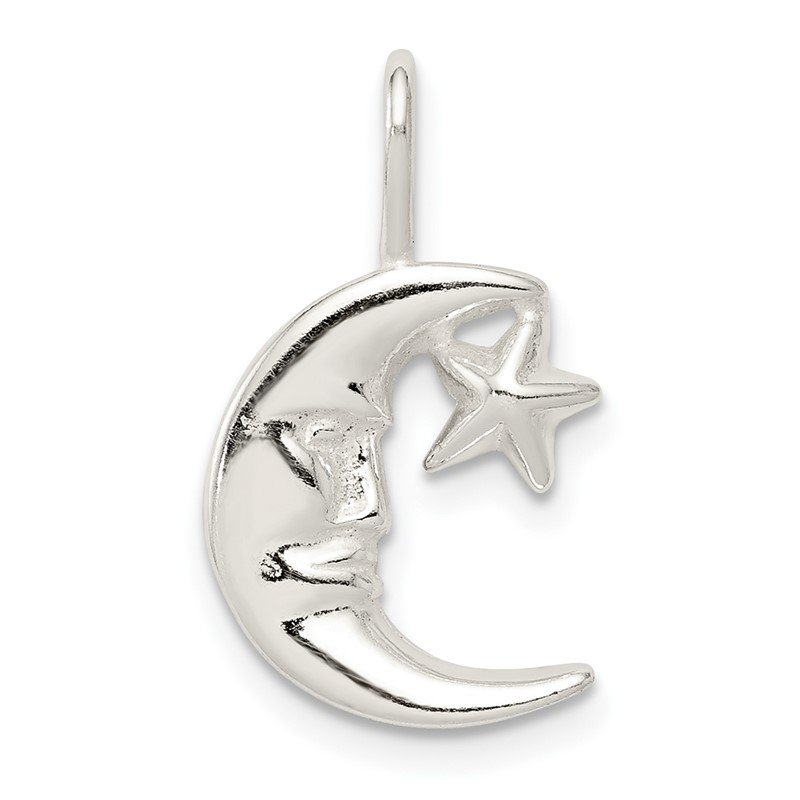 Quality Gold Sterling Silver Moon w/Star Charm