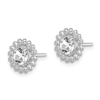 Sterling Silver Rhod-plat White Topaz Earrings
