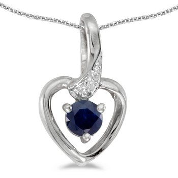 10k White Gold Round Sapphire And Diamond Heart Pendant