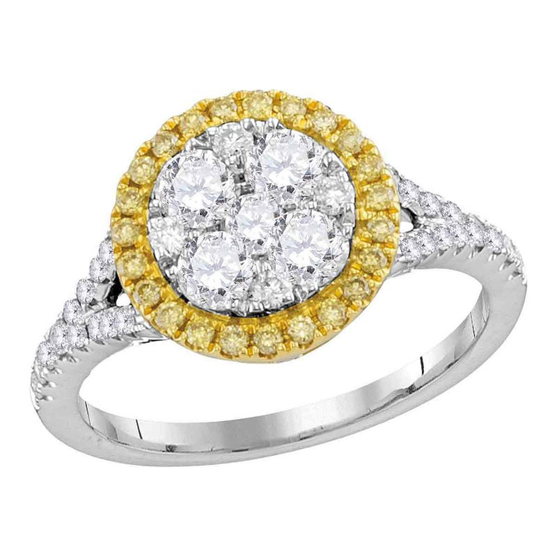 Kingdom Treasures 18kt White Gold Womens Round Yellow Diamond Cluster Bridal Wedding Engagement Ring 1.00 Cttw