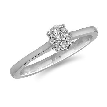 14K WG and diamond Oval composite head and plain shank ring in pressure setting