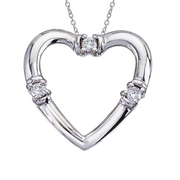 14K White Gold Diamond Open Heart Pendant