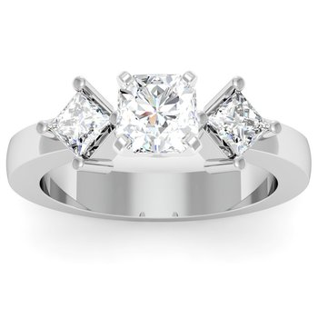 Kite Style Princess Cut Engagement Ring