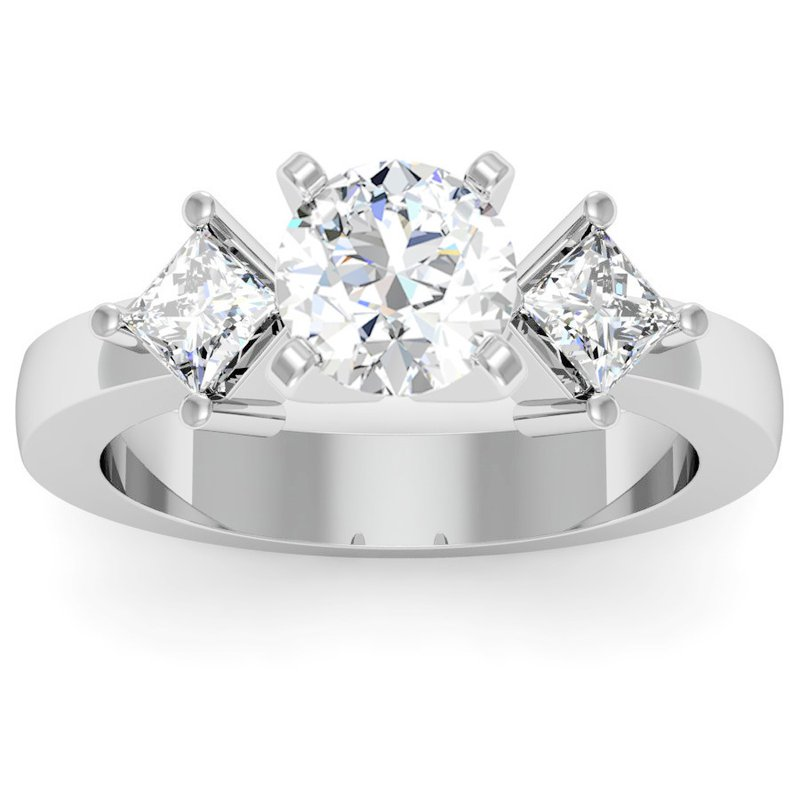 California Coast Designs Kite Style Princess Cut Engagement Ring