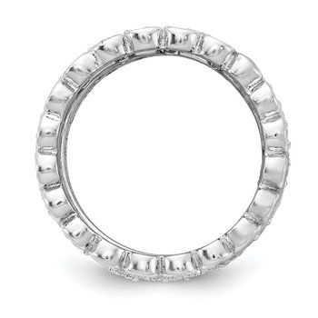 Cheryl M Sterling Silver Rhodium-plated CZ Eternity Five Ring Set