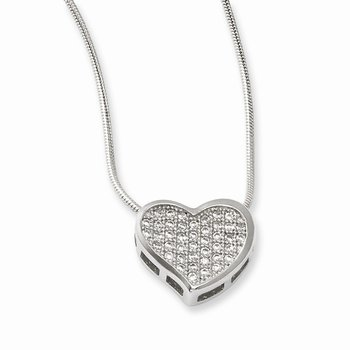 SS Rhodium-Plated CZ Brilliant Embers Heart Necklace