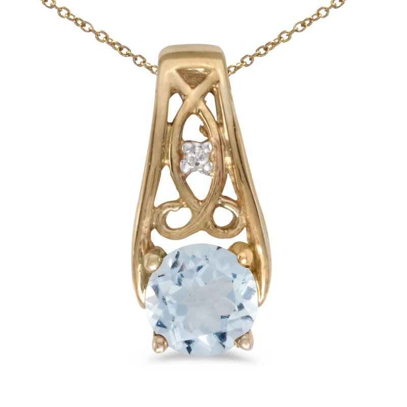 Color Merchants 14k Yellow Gold Round Aquamarine And Diamond Pendant