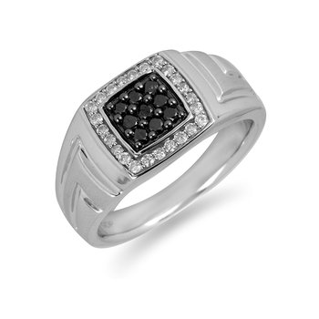 10K WG Black and White Diamond Men's Ring