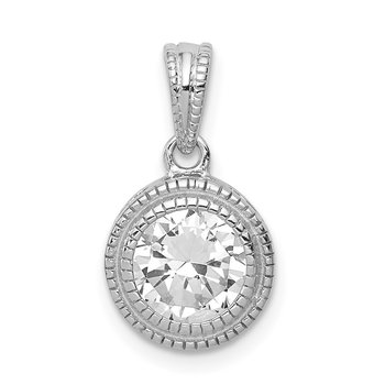 Sterling Silver CZ Circle X Edge Pendant