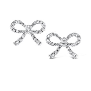 Diamond Mini Bow Earrings in 14k White Gold with 44 Diamonds weighing .19ct tw.