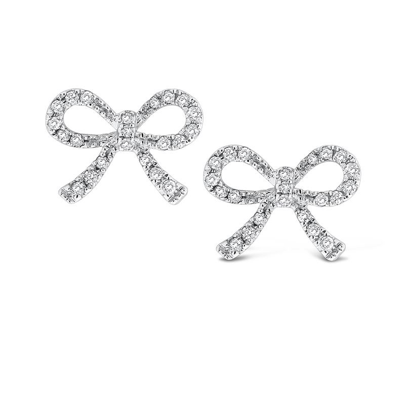 MAZZARESE Fashion Diamond Mini Bow Earrings in 14k White Gold with 44 Diamonds weighing .19ct tw.