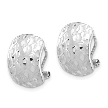 14K White Gold Textured Omega Back Earrings