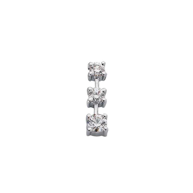S. Kashi  & Sons White Gold Three Stone Charm