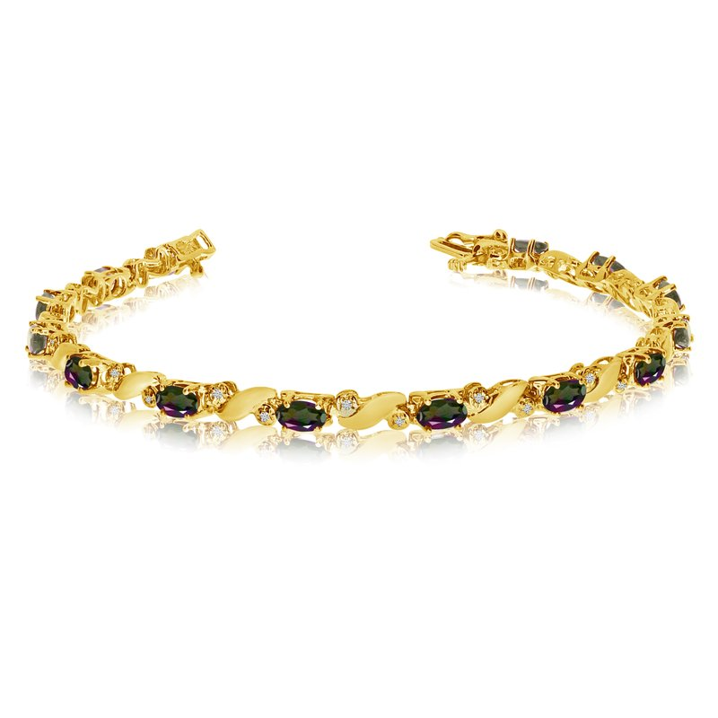 Color Merchants 14k Yellow Gold Natural Mystic-Topaz And Diamond Tennis Bracelet